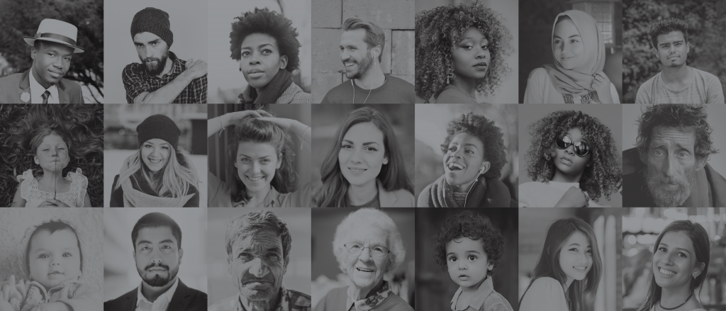 a block of 21 black and white pictures of various, diverse individuals.